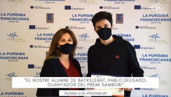 El nostre alumne de batxillerat, Pablo Delgado, guanyador del premi Sambori