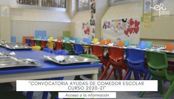 Concesión de ayudas de comedor escolar para el curso 2020-21