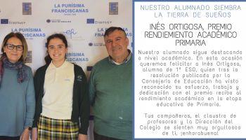 Nuestra alumna, Inés Ortigosa, premio extraordinario al rendimiento académico en Primaria