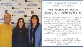 Nuestra alumna, Lydia Dominguez, premio extraordinario al rendimiento académico en la ESO