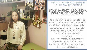 Entrevista a Natalia Martínez, alumna de 1º ESO, quien recientemente se ha proclamado subcampeona de 500 metros